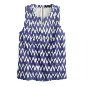 J. Crew Nothed Shell in Zig Zag Ikat Top